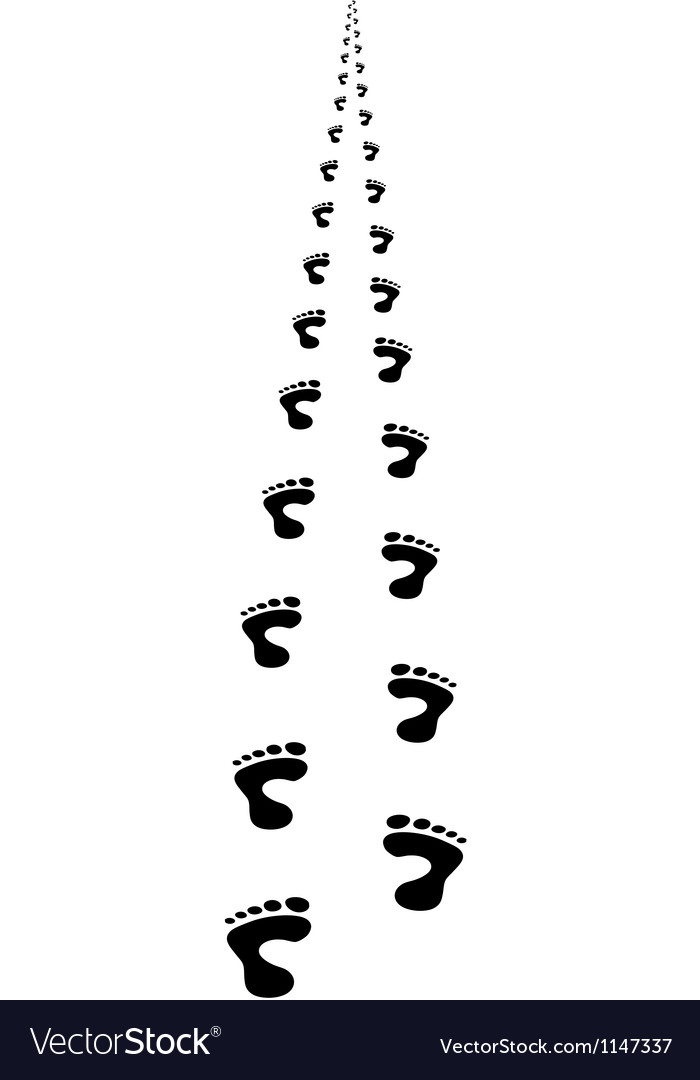 Foot steps walking away in perspective vector
