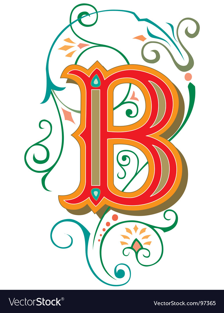 Floral Letter B Vector By YASMAD Image 97365 VectorStock