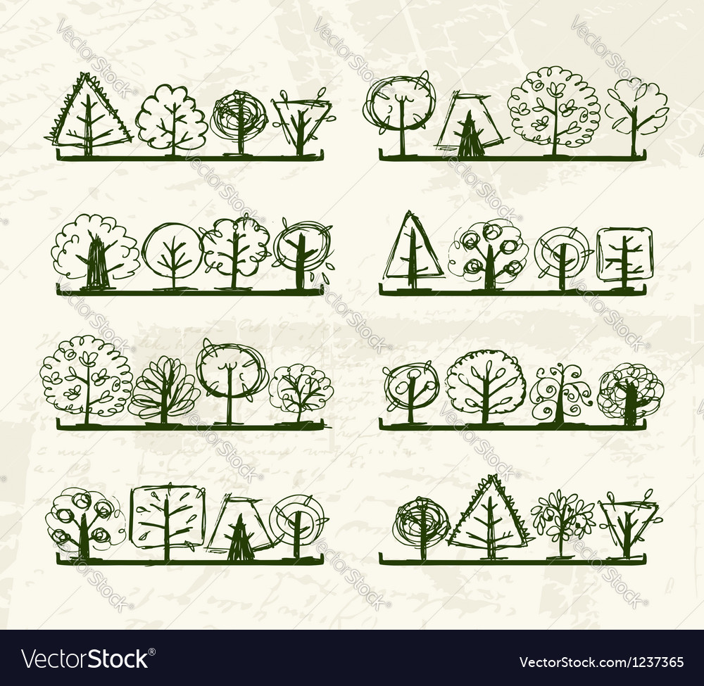 Sketch of trees on shelves for your design vector