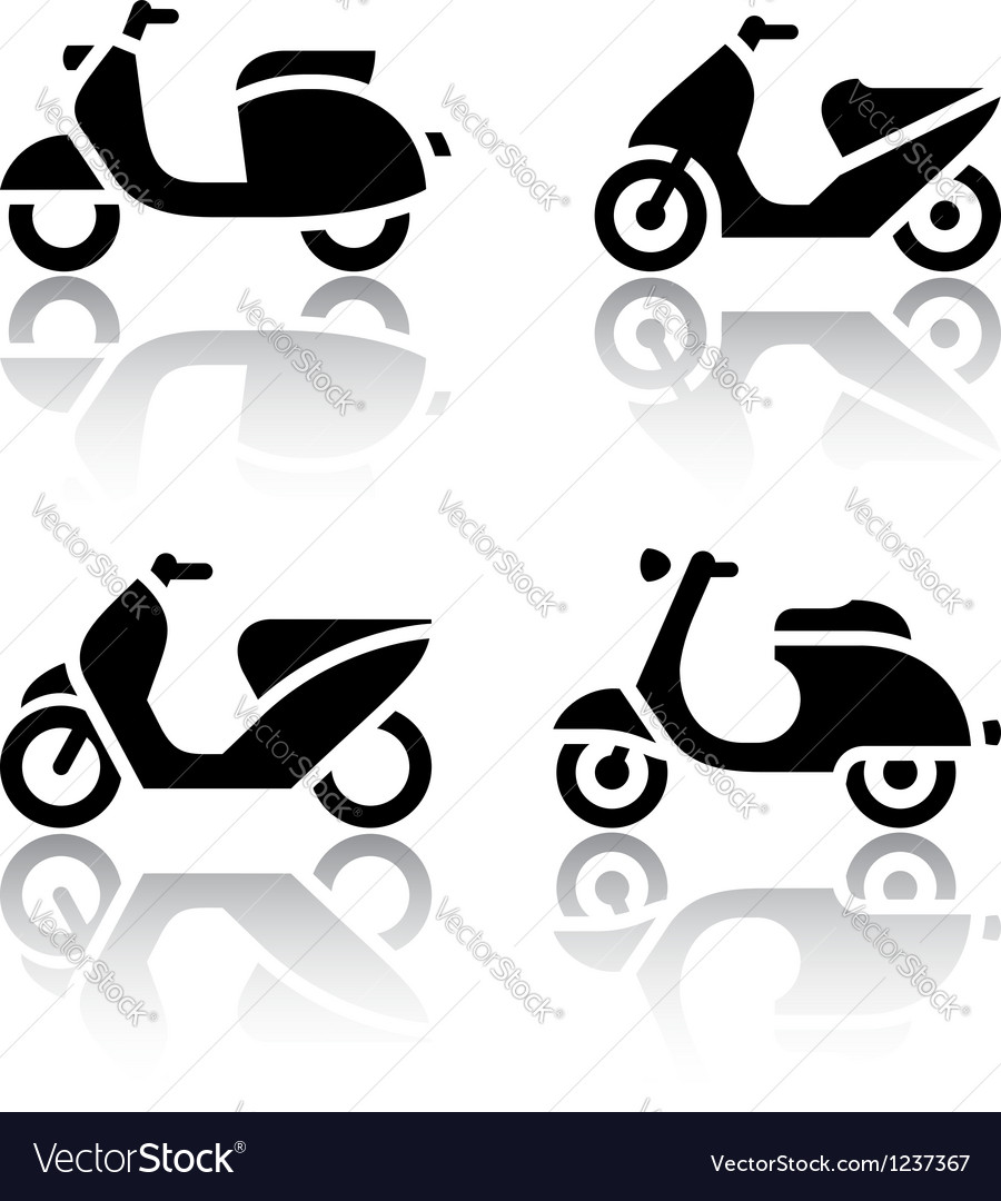 Set of transport icons  scooter and moped vector