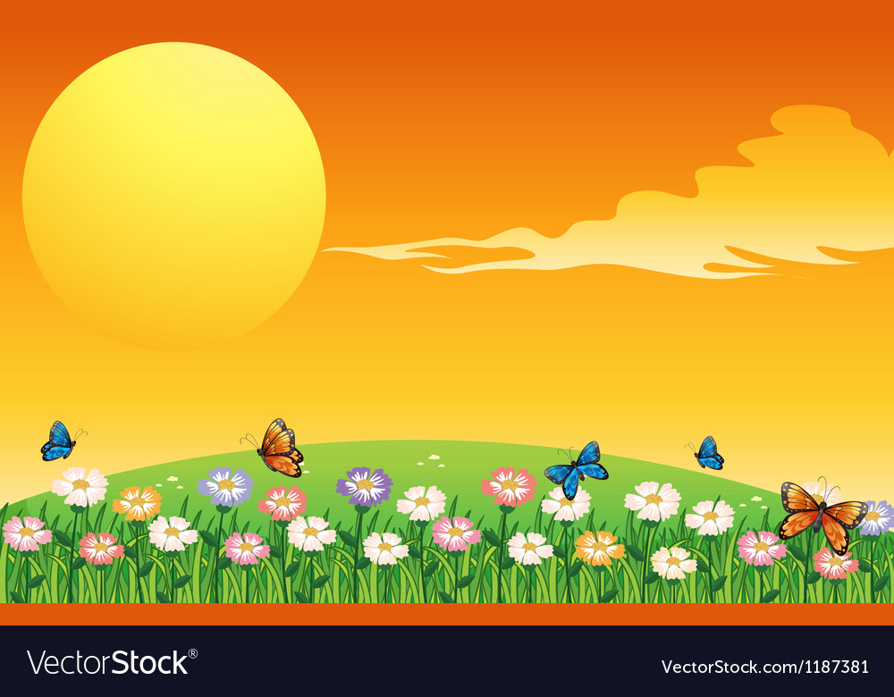 A colorful garden above the hills vector
