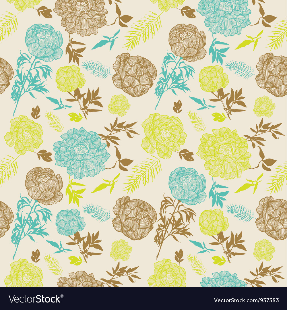 Vintage flowers seamless pattern vector