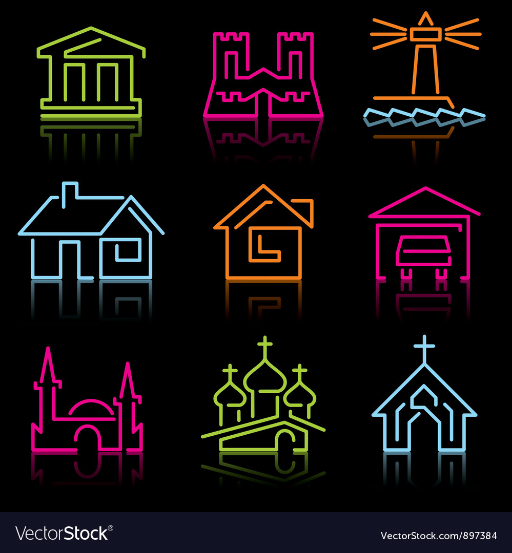 Line architectural icons vector