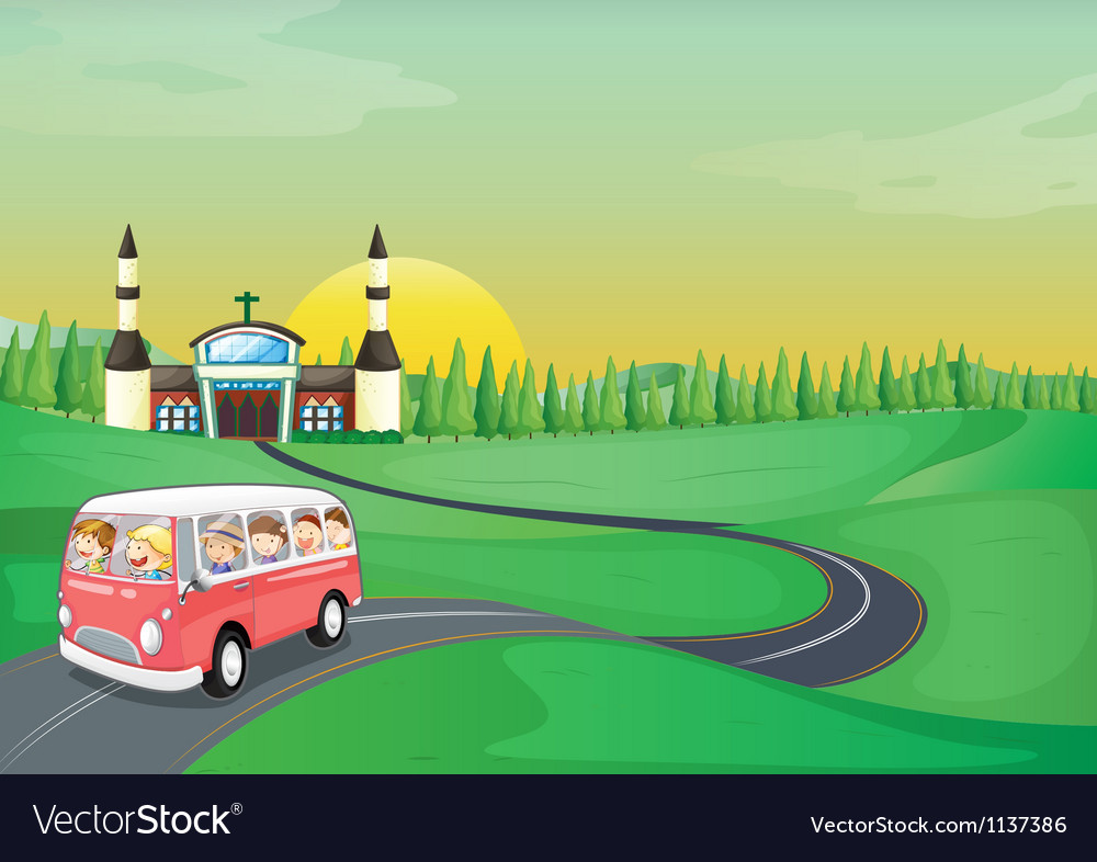 A bus and kids vector