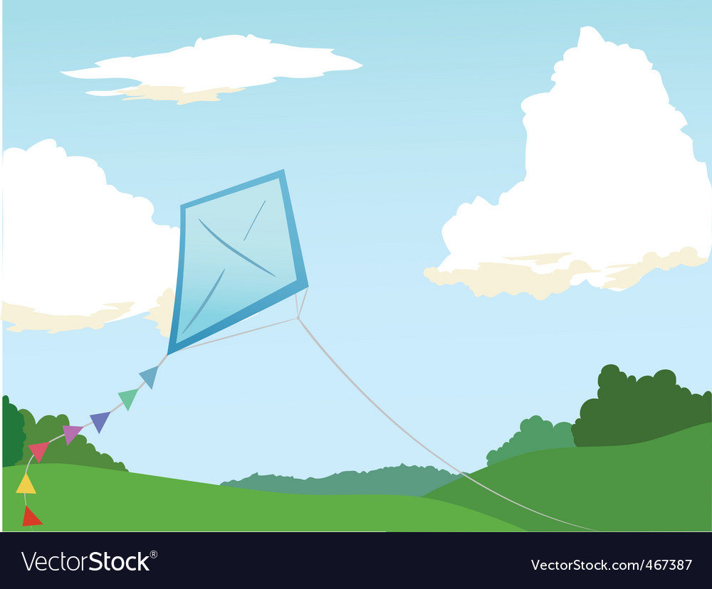 Kite flying vector