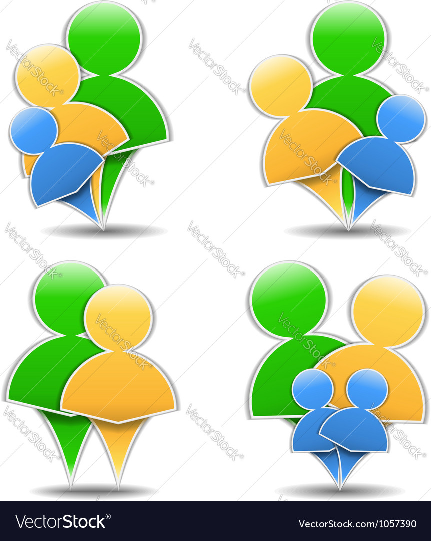 Abstract family icons vector