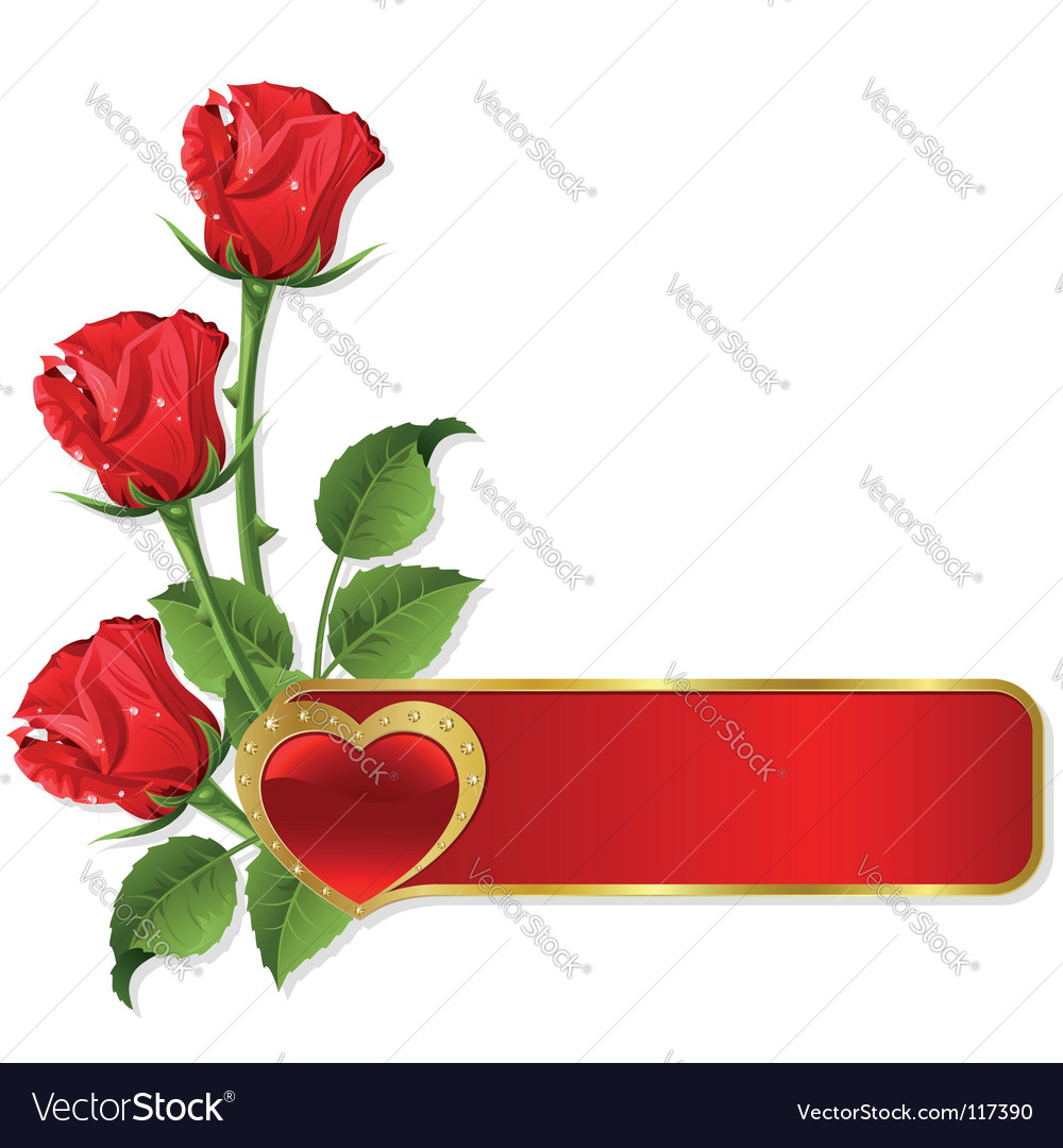 Roses and hearts design vector