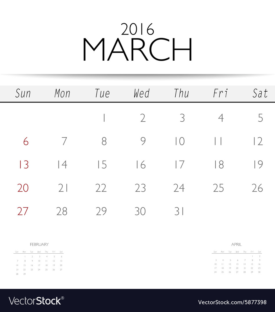 MARCH 2016 MONTHLY CALENDAR TEMPLATE - 2016 March