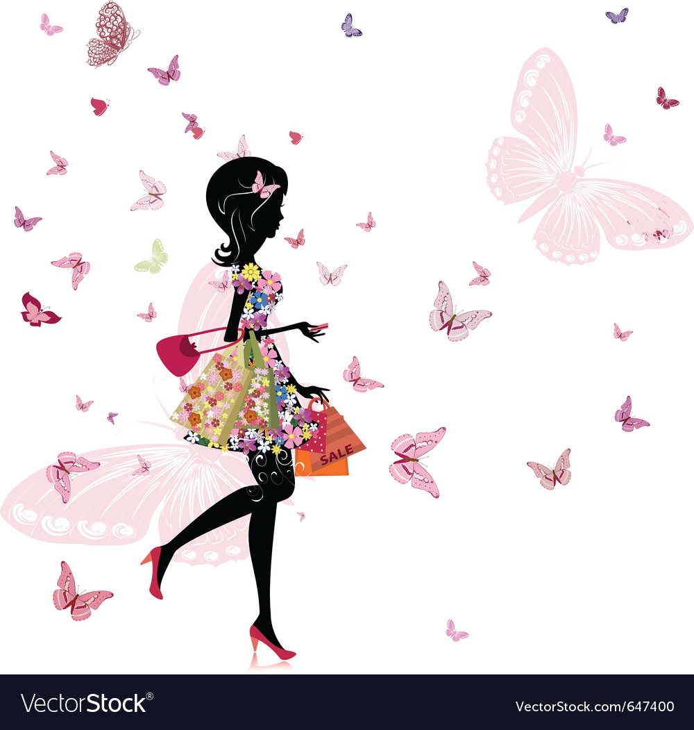 Girl with a flower shop in vector