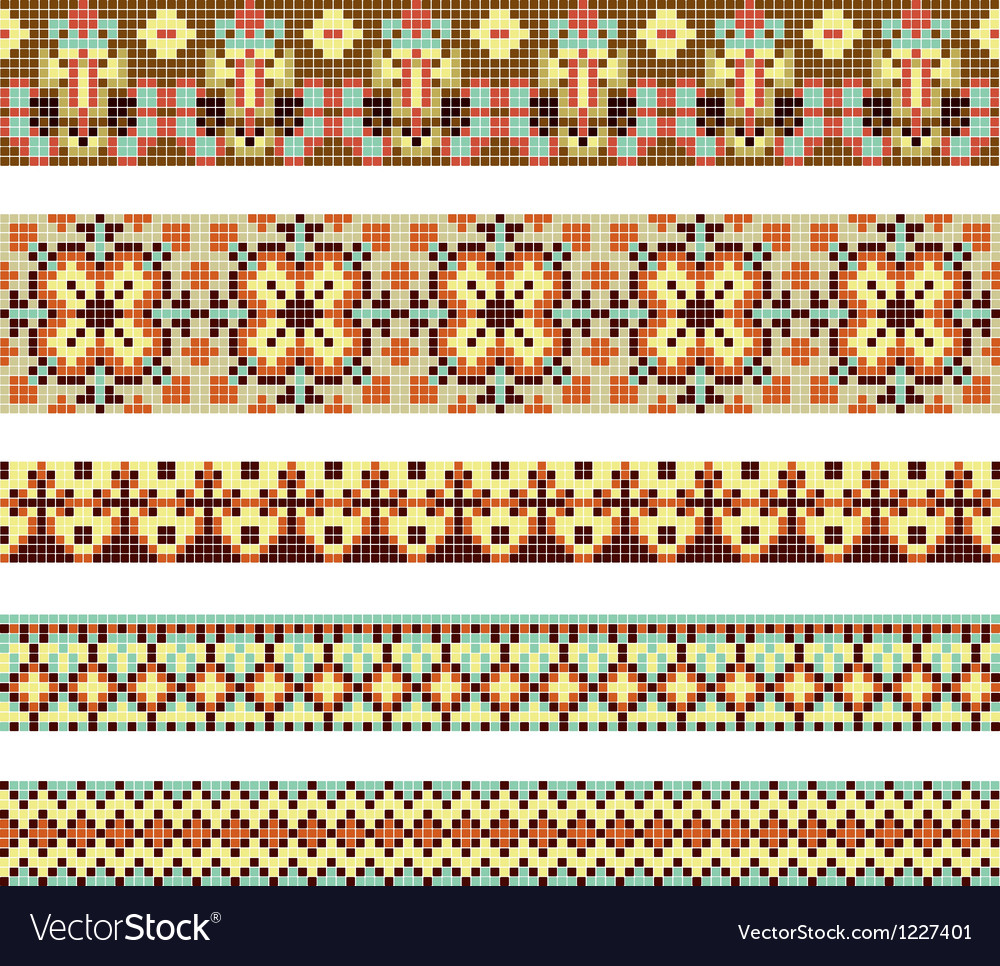Crossstitch ethnic ukraine pattern vector
