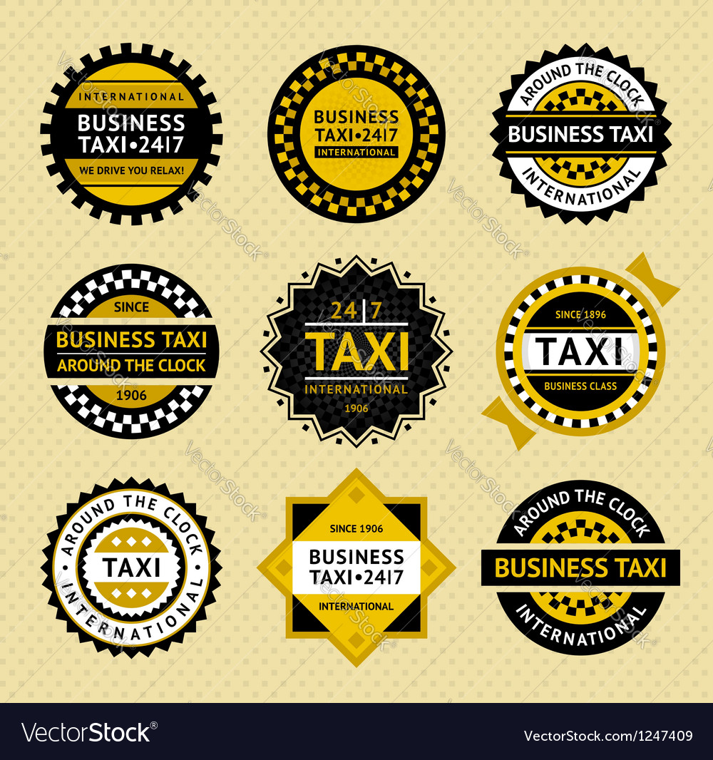 Taxi labels  vintage style vector