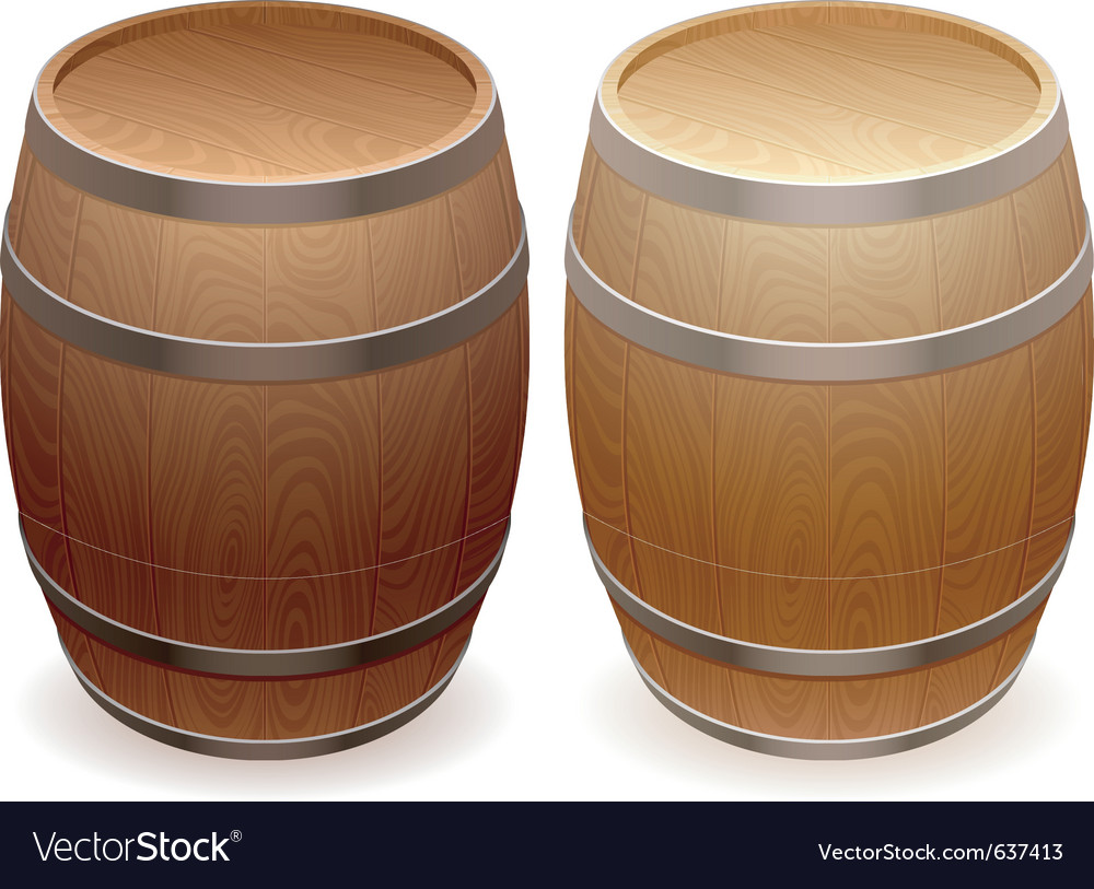 Wooden barrels vector
