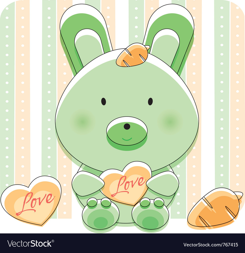 Happy love bunny vector