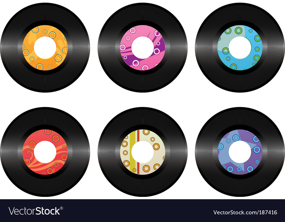 Vintage vinyl record set isolated vector