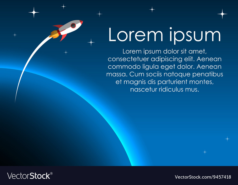 Rocket in space flying over earth
