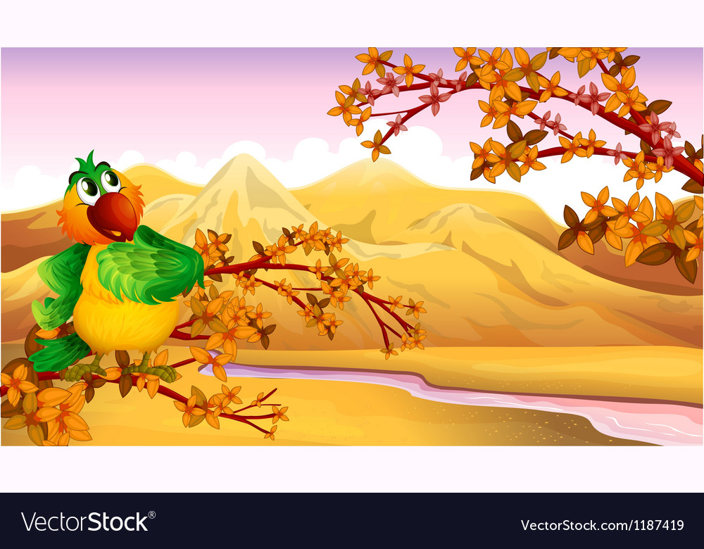 A mountain view with a bird vector