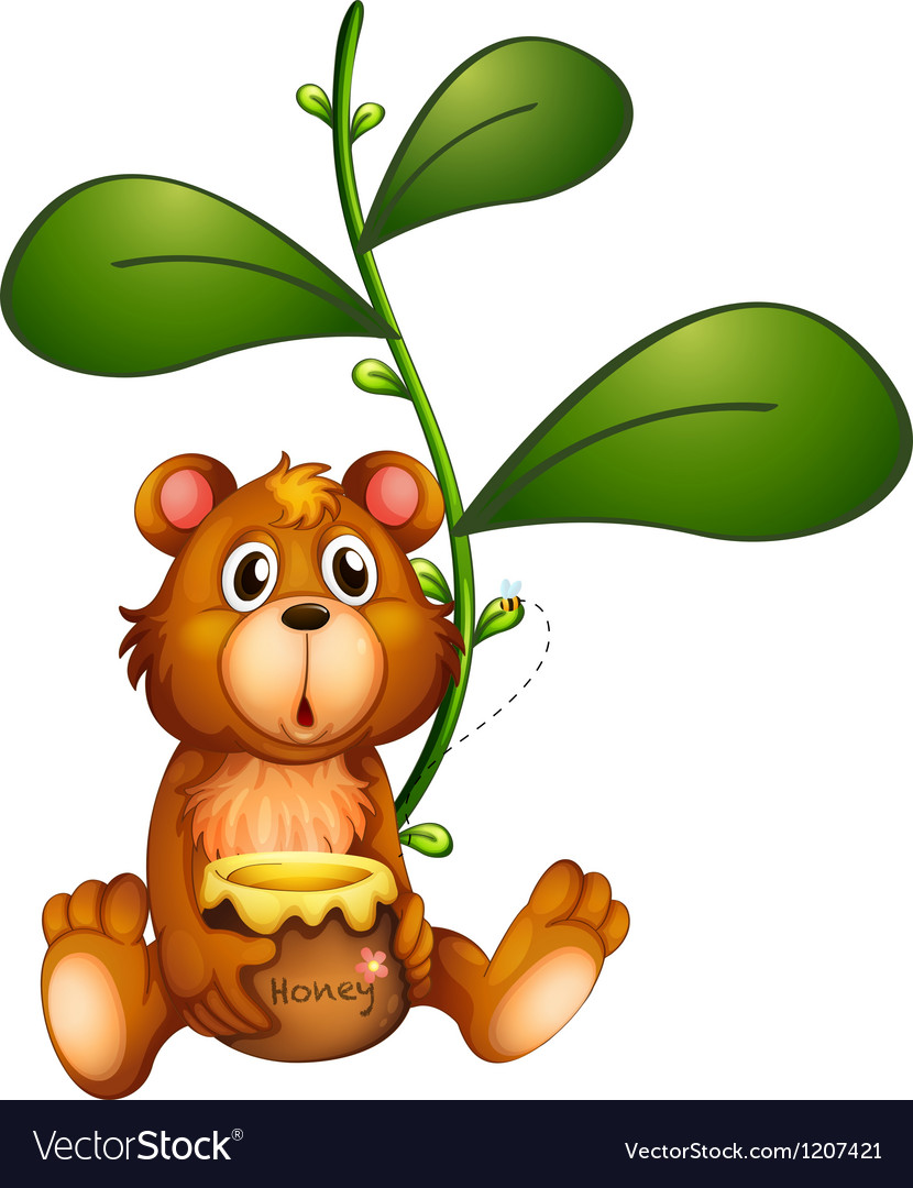 A bear near a vine plant vector