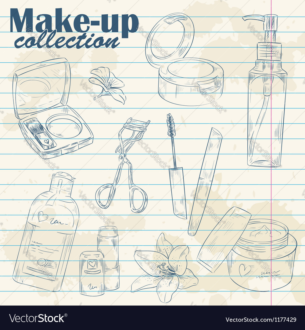 Set of makeup object collection on notebook paper vector