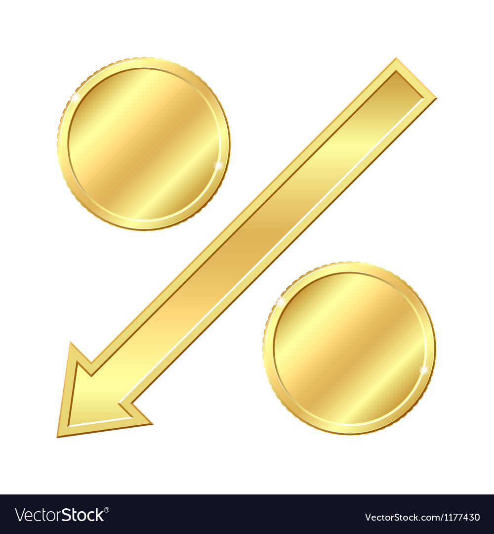 Percentage sign with gold coins vector
