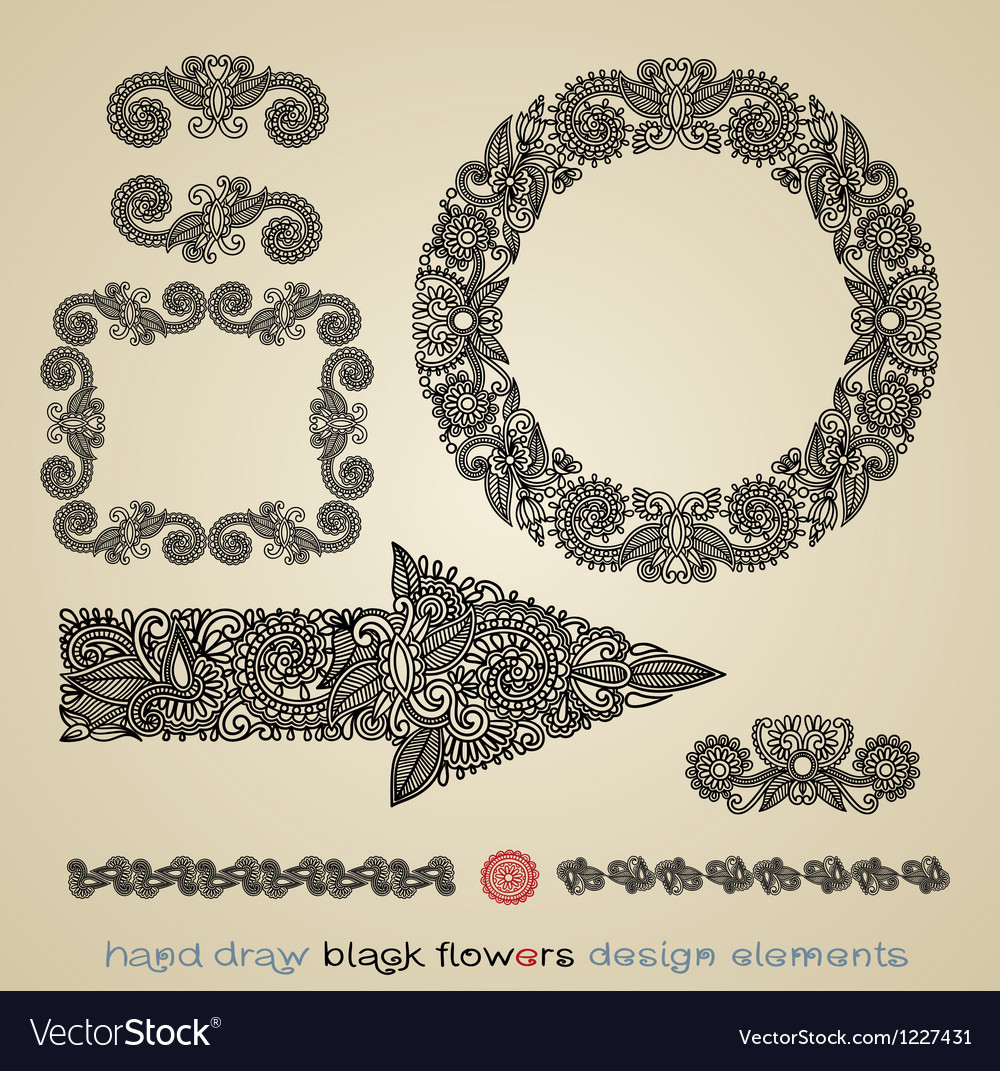 Flower design element  arrow circle frame divider vector