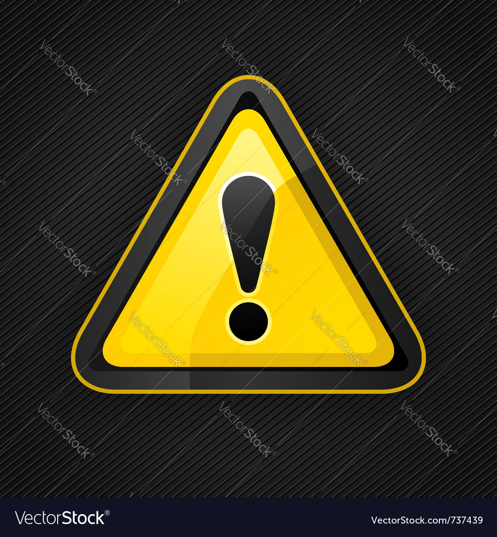 Hazard warning attention sign on a metal surface vector