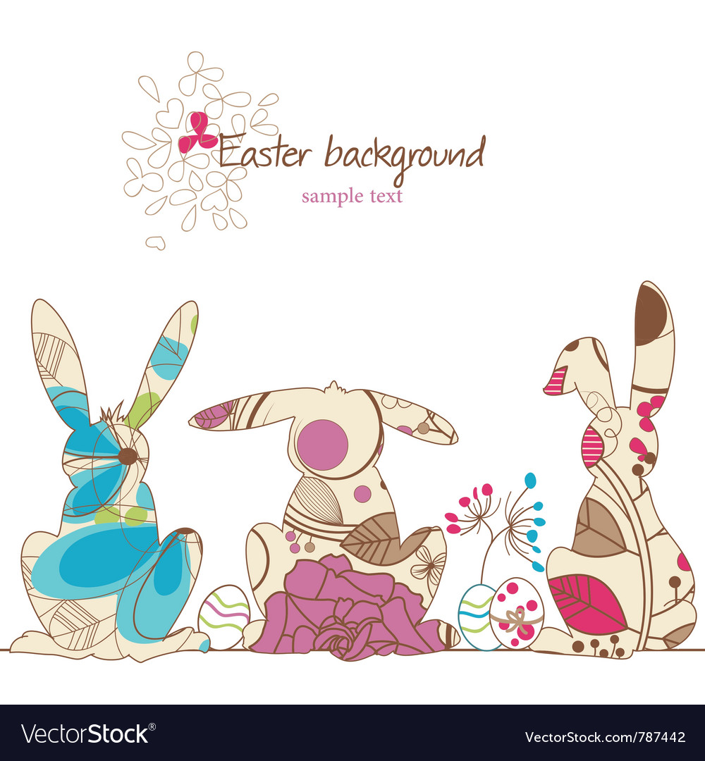 Easter rabbits vector