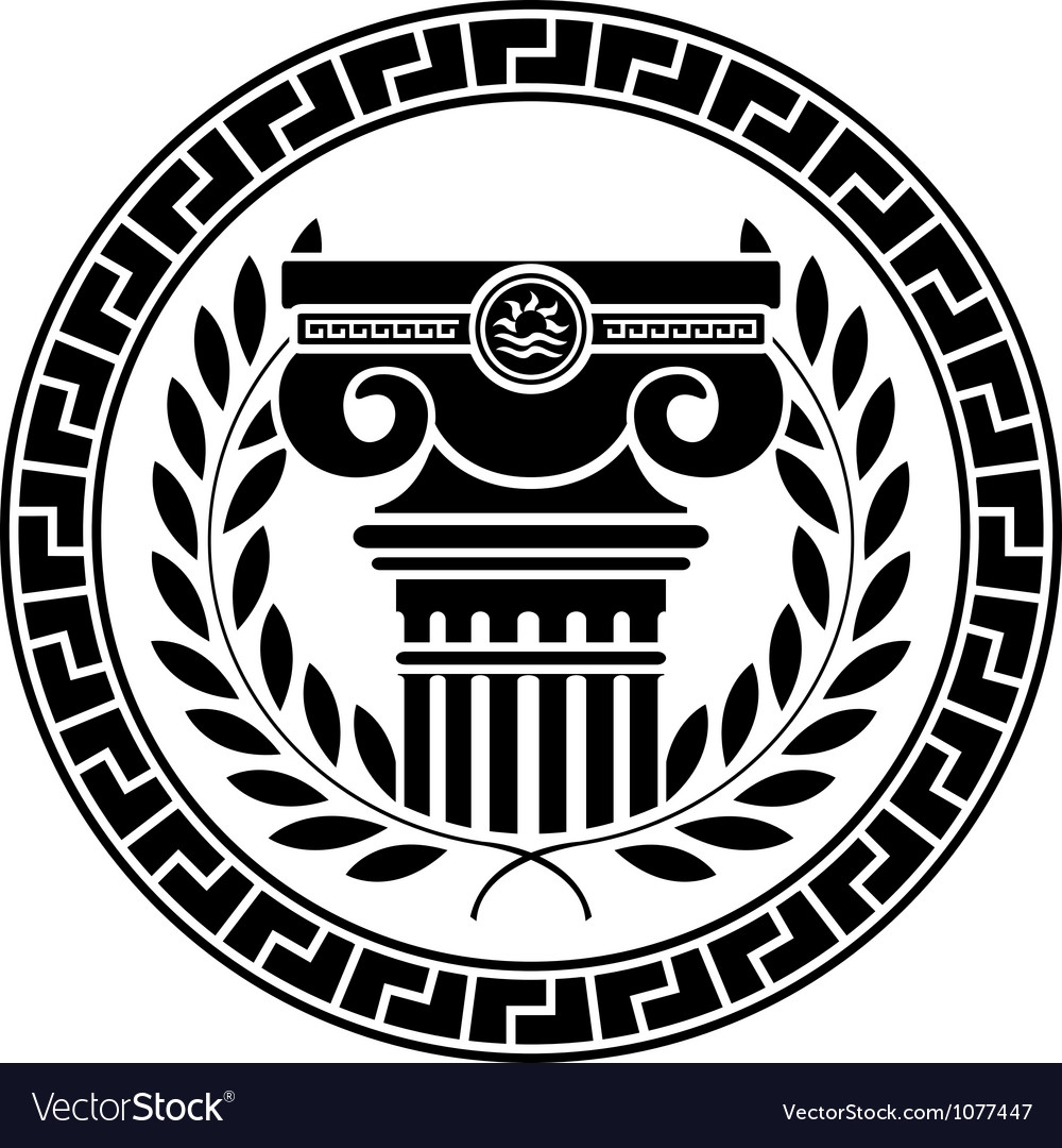 Hellenic column and laurel wreath vector