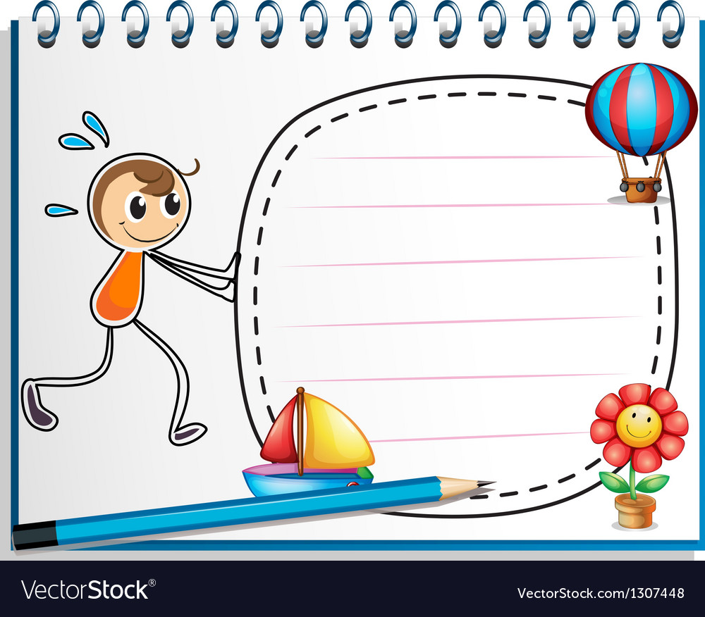 A notebook with a drawing of a boy pushing the vector