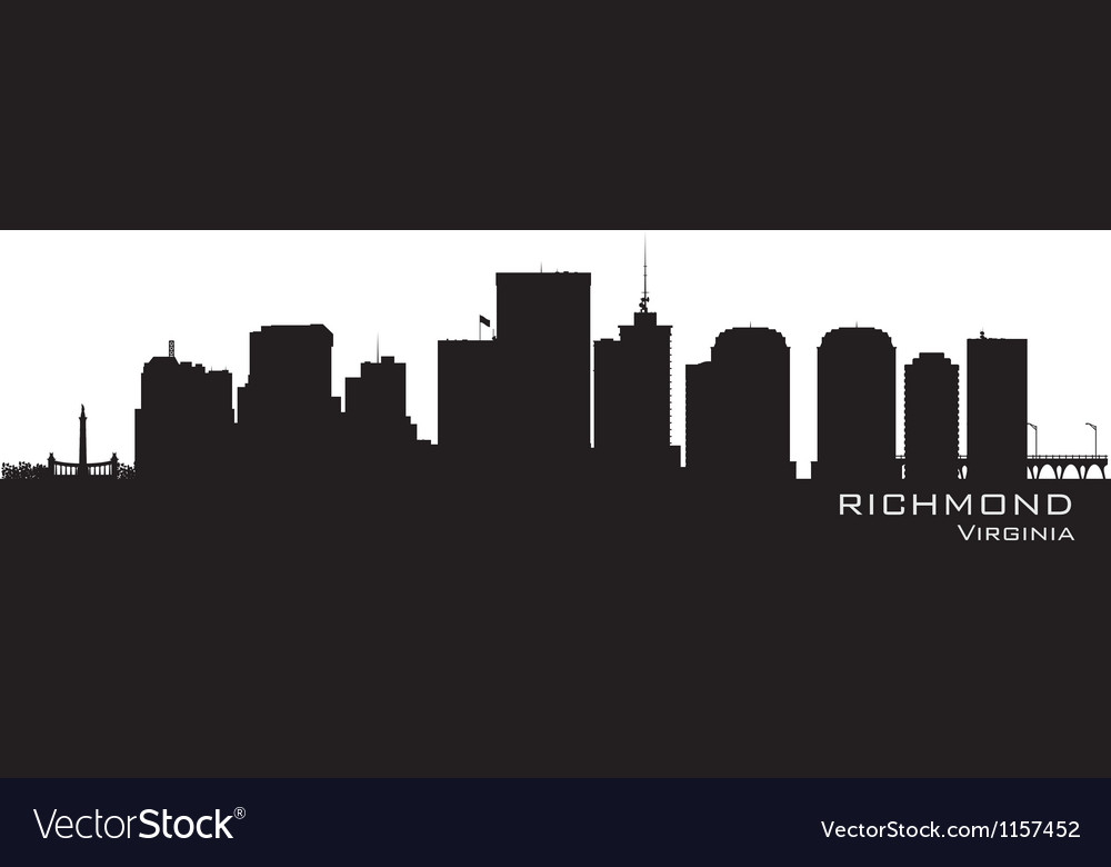 Richmond virginia skyline detailed city silhouette vector