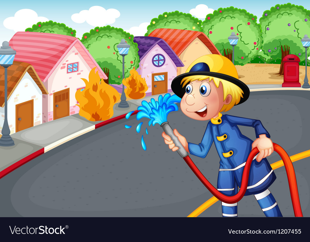 Fireman holding a hose rescuing a village on vector