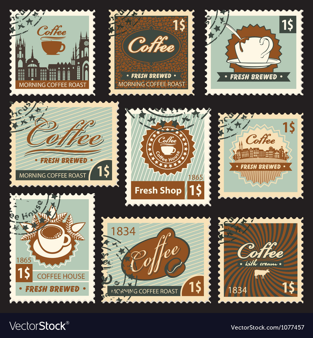 Coffee postal vector