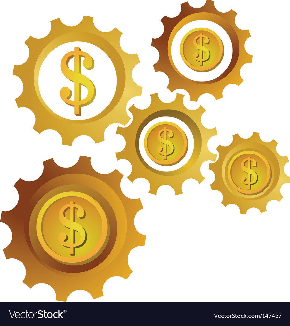 Golden dollar cogwheels vector