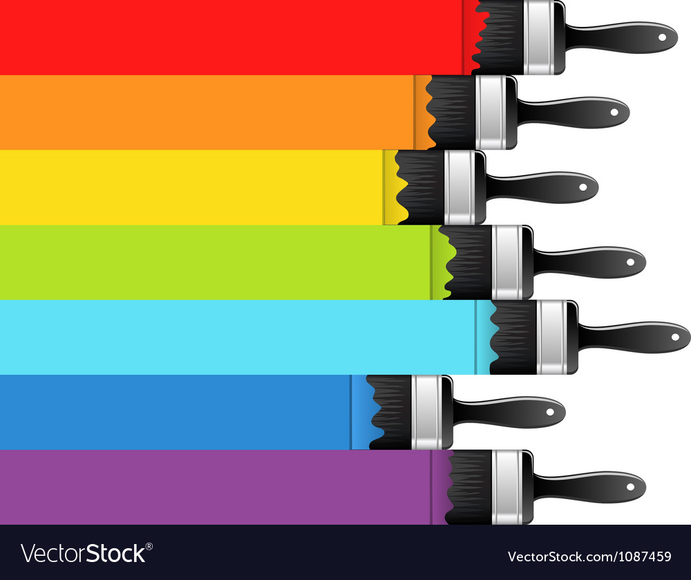 Rainbow background with brushes vector