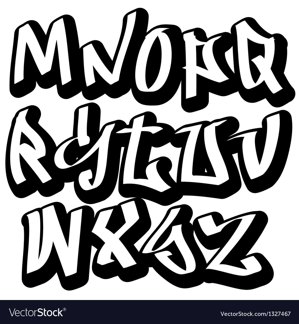 Graffiti font alphabet abc letters vector by serg wsq image