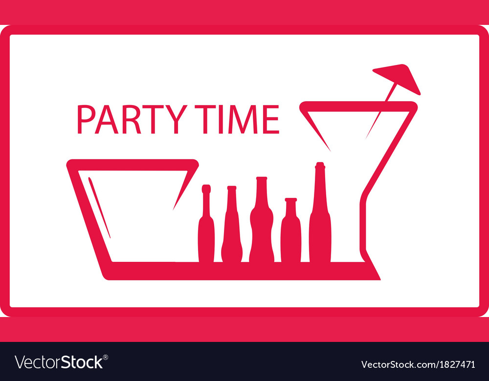 Bottle wineglass  party symbol vector