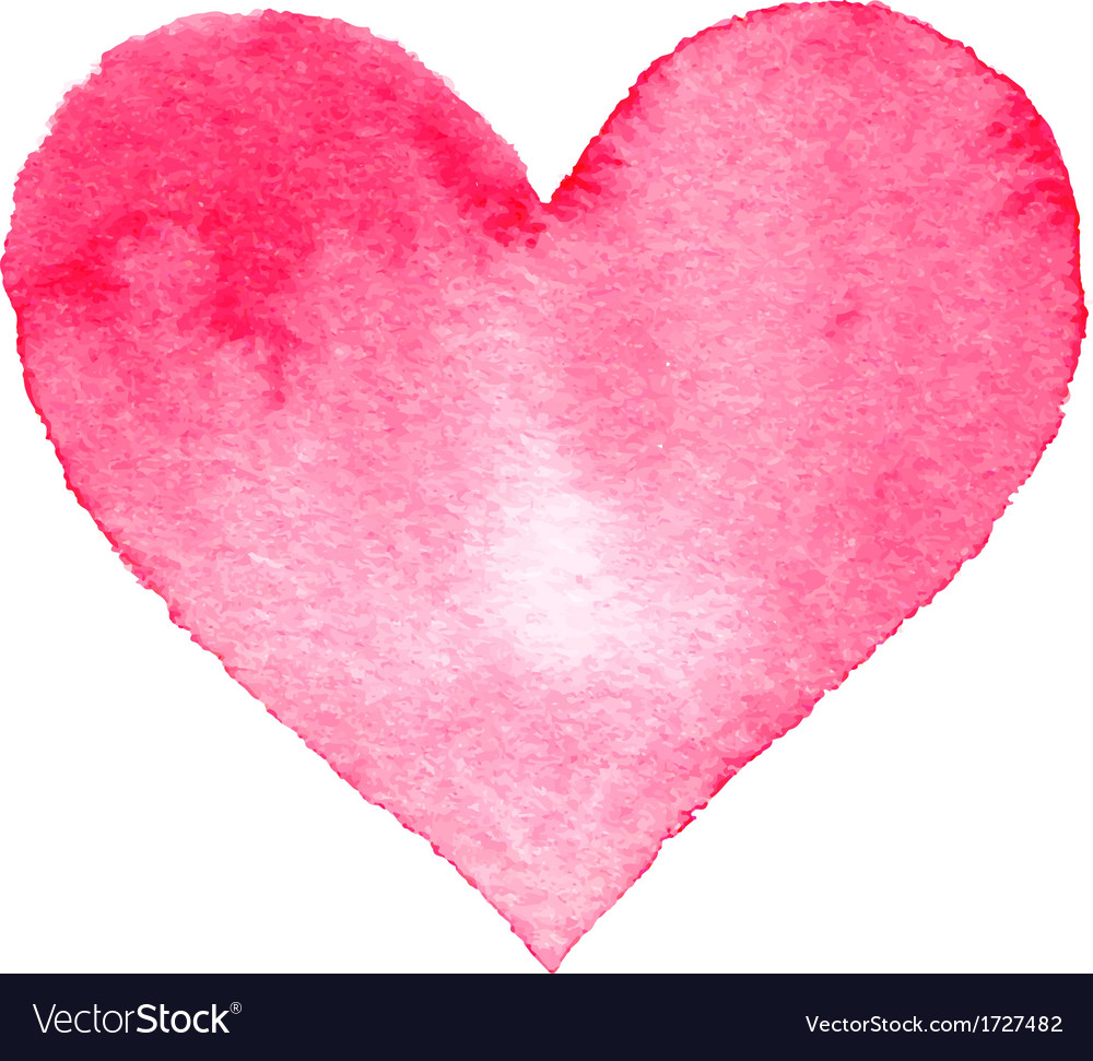 Watercolor painted pink heart vector
