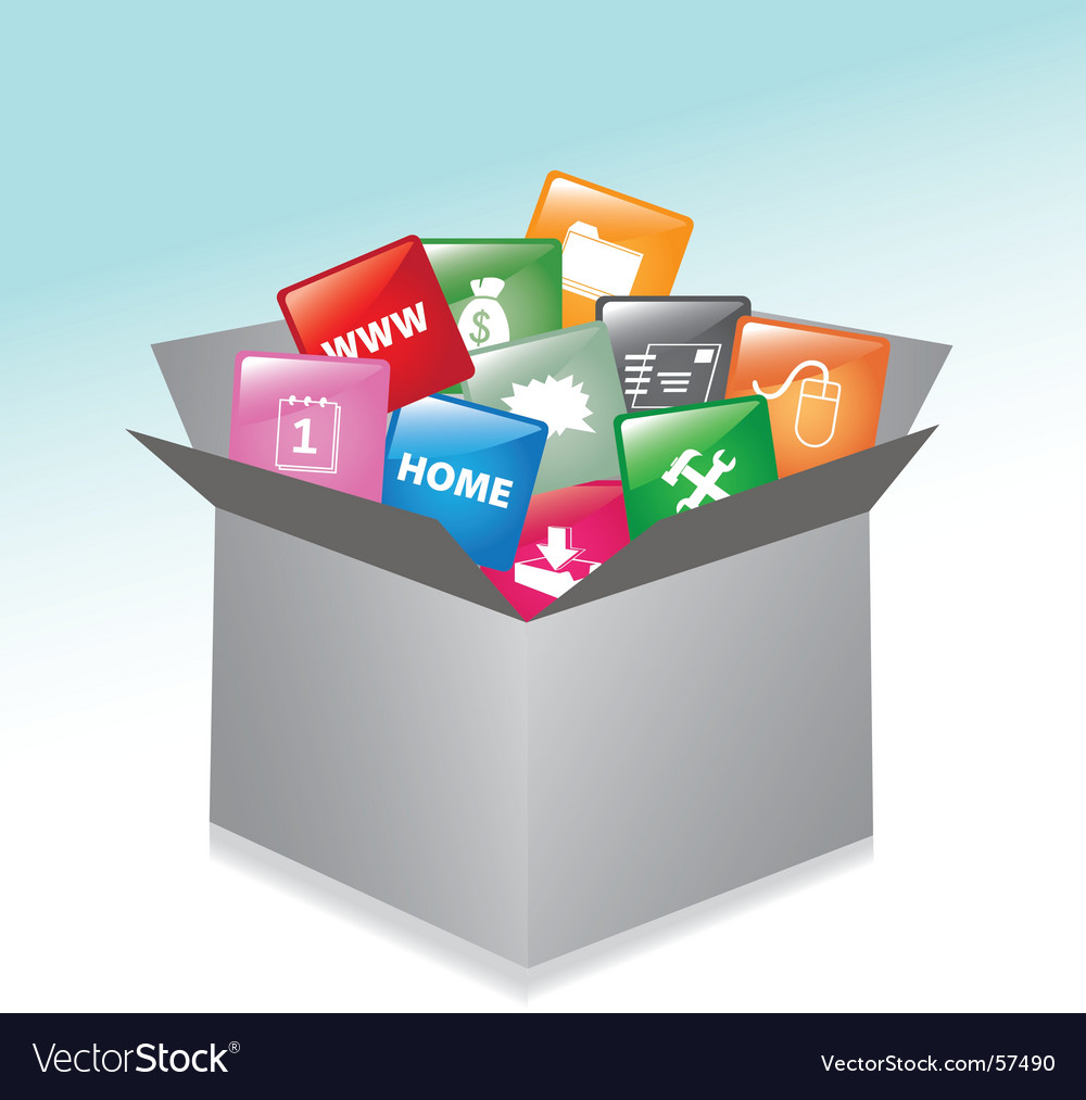 Cardboard box web buttons vector
