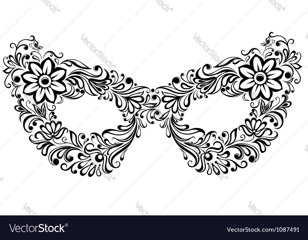 Silhouette masks as the flower pattern and ornamen vector