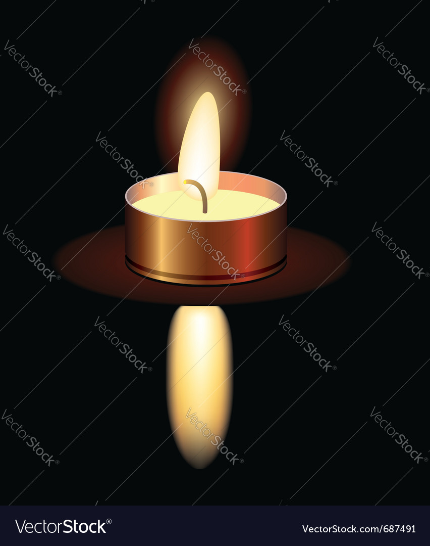 Small burning candle vector