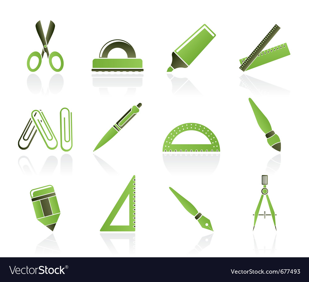 School and office icons vector
