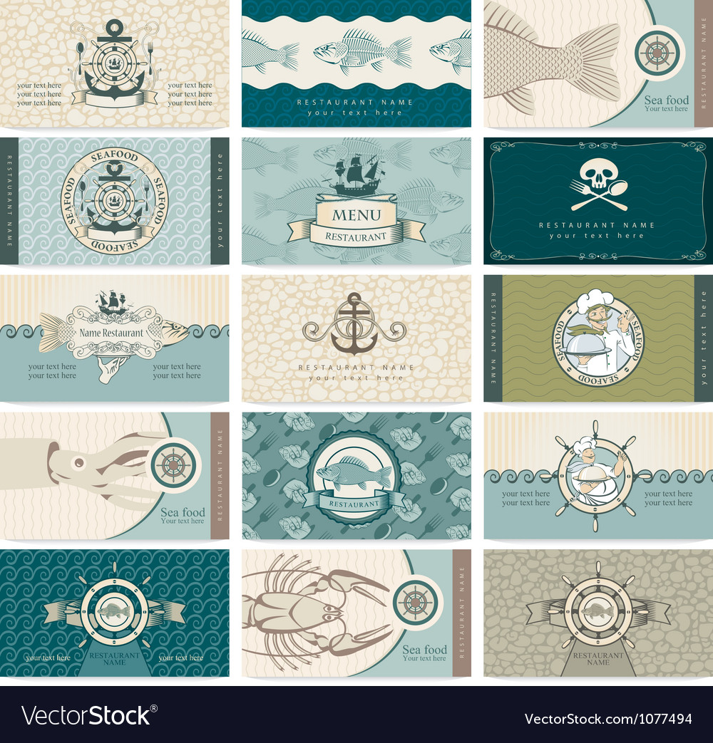 Sea cards vector