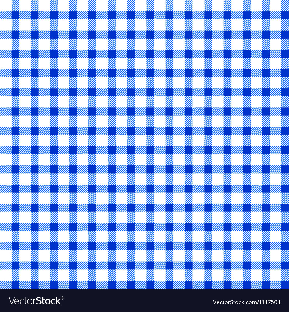 Seamless retro whiteblue square tablecloth vector