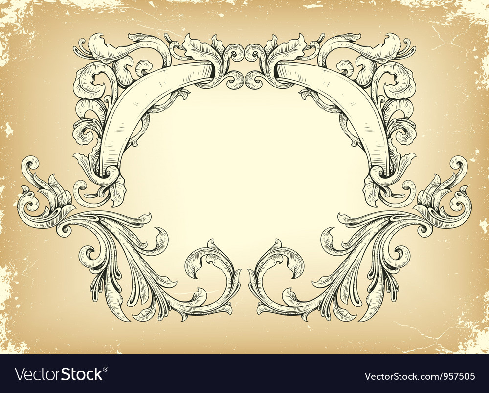 Free grunge frame with floral vector