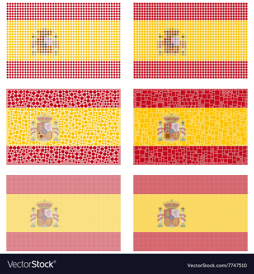 Mosaic spain flag set
