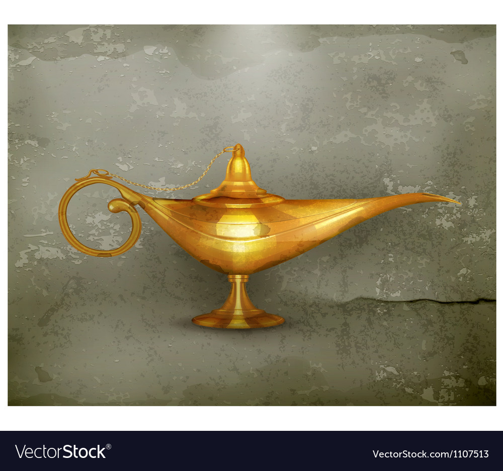 Oil lamp oldstyle vector