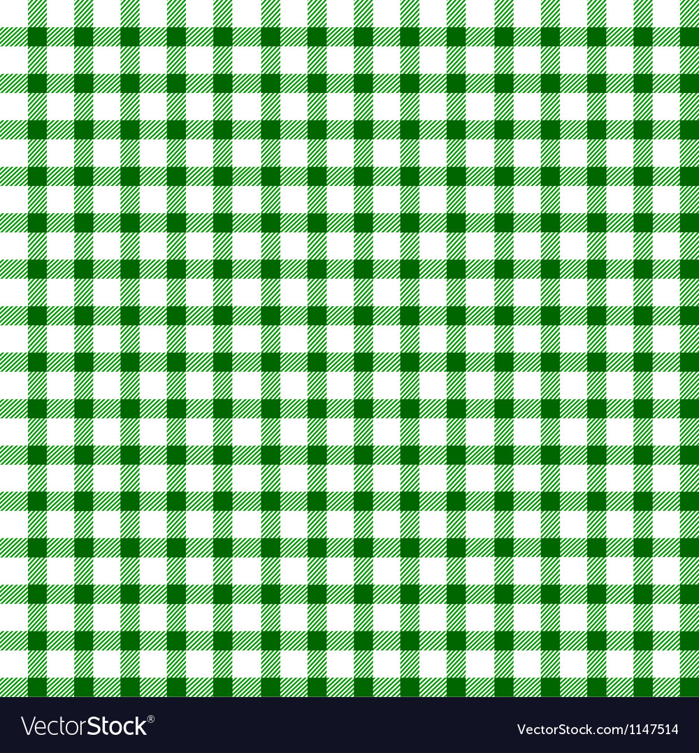 Seamless retro whitegreen square tablecloth vector