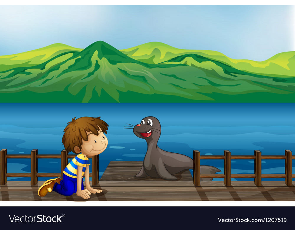 A boy and a sea lion vector