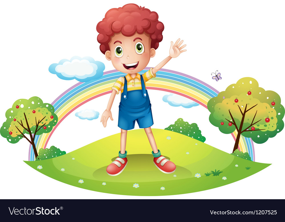 Boy and the rainbow vector