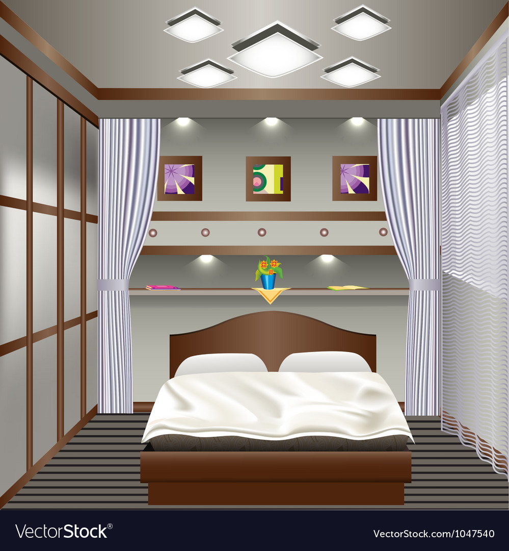 Interior bedroom with a window with curtains vector