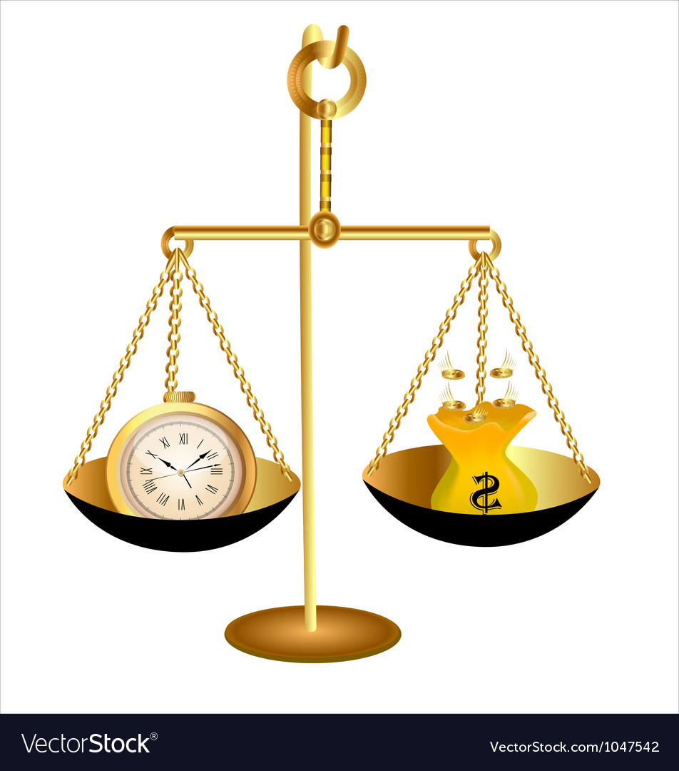 Clock time money dollar on scales vector